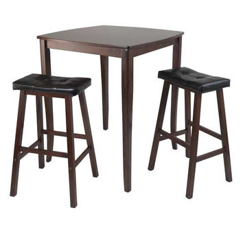 3 Piece Inglewood High/Pub Dining Table with Cushioned Saddle Stool