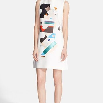 Women's Victoria, Victoria Beckham Leather Applique Crepe Shift Dress