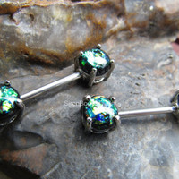 "Opal nipple barbell 14g steel ring nipples piercing rings 9/16"" pair piercing bar surgical jewelry glitter prong green barbells bar straight"