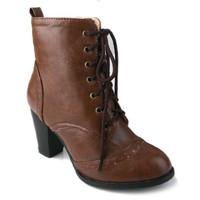 Retro Lace Up High Heel Boots with Cut Out Design