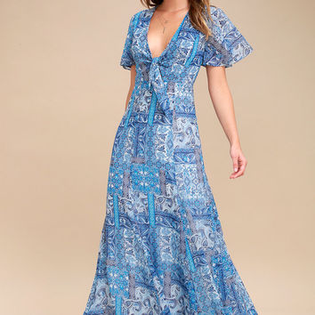 Wings of Love Blue Print Maxi Dress