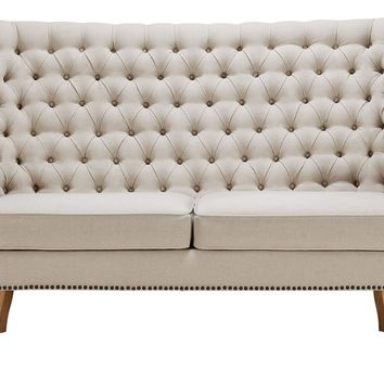 ALICE BEIGE LINEN WING LOVESEAT