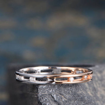 Rose Gold Wedding Band Multi Metal Cage Diamond Promise Ring Women Eternity Minimalist Stacking Matching Graduation Anniversary Gift For Her