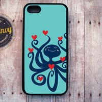Blue Octopus With Hearts Valentine's Day Case iPhone 5 / 5s case