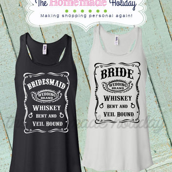 Whiskey bent and Veil bound Tank tops