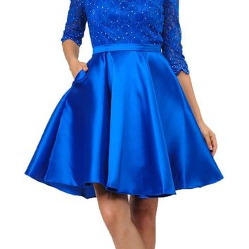 Mid Sleeves Lace Top Cut Out Back Homecoming Dress Royal Blue Short