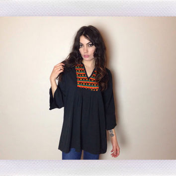 70's BLACK SMOCK TOP - colorful chest design - three quarter length sleeves - fits most sizes