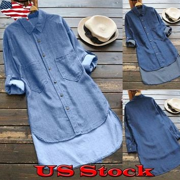 Womens Denim Pockets Button Down Shirt Long Sleeve Jeans Tops Tunic Blouse Dress