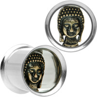 "7/16"" Stainless Steel Double Sided Enlightened Buddha Plug Set"