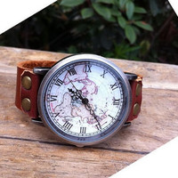 Retro style watch,world map wrist watch bracelet, Brown Leather Bracelet  Watch, Handmade Women's Watch, Everyday Bracelet  PB056