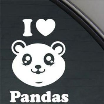 I Love Pandas  Logo Vinyl Sticker Decal Car Truck Windon Wall Laptop notebook