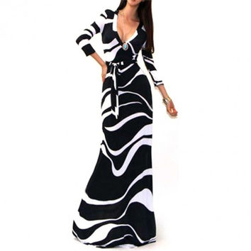 Sexy Package Hip Maxi Dress V-neck Long Sleeve Printed Long Floor Length Women Bohemian Dresses vestido de festa Alternative Measures - Brides & Bridesmaids - Wedding, Bridal, Prom, Formal Gown