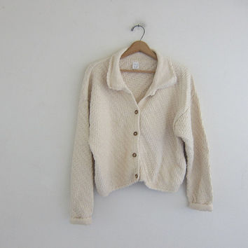 Vintage off white cardigan sweater. Fisherman's sweater. Chunky knit pocket sweater. large