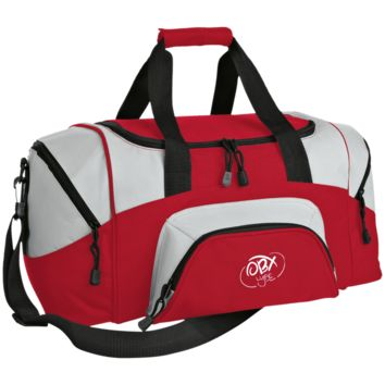 Embroidered Cloud White OBX Lyfe Port & Co. Small Colorblock Sport Duffel Bag in 7 Colors