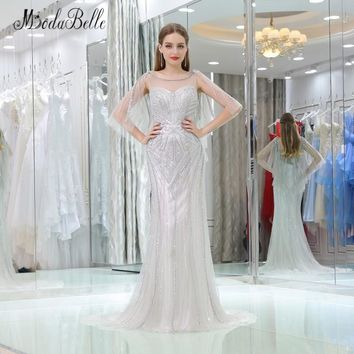 modabelle 2018 Luxury Prom Dress Pearls Beaded Sexy Backless Mermaid Trumpet Style Party Long Formal Dress For Special Occasion