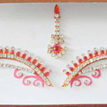Red bridal bindi,High quality rhinestone Sticker bindi,Indian wedding jewelry,Stick on body jewels,Tikka binidi,Festival Face jewel,Body art