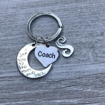 Personalized Coach Love You to the Moon and Back Keychain