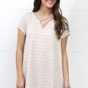 Subtle Stripes + Lace Trim Strappy Neckline Top {Taupe} - Size SMALL