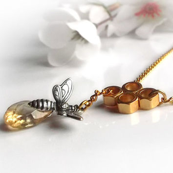 Citrine necklace, gemstone lariat necklace, November birthstone, honeycomb and bee necklace, recycled eco frinedly