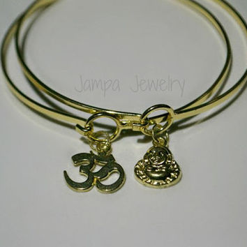 Gold Buddha and Om Bangle Set