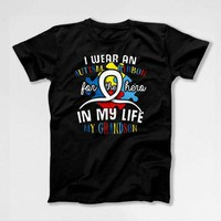 Autism T Shirt Grandma Gifts For Grandpa Autistic Support Ribbon Awareness TShirt Autism Month My Grandson My Hero Mens Ladies Tee DN-685