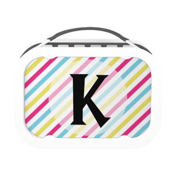 Monogrammed Pink, Blue & Green Striped Lunch Boxes