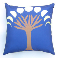 Fall Decor - Tree with Phases of the Moon Blue Brown Yellow Pillow Cover 16 inch, Decorative Throw Pillow Cover, Cushion Cover, Sham