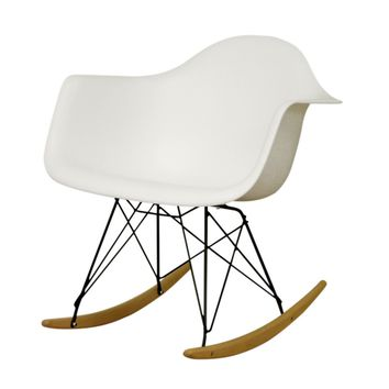 Baxton Studio Dario White Plastic Mid-Century Modern Rocking Chair Set of 1