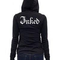 """Women's """"Inked Logo"""" Long Sleeve Hooded Tee by Inked (More Options)"""