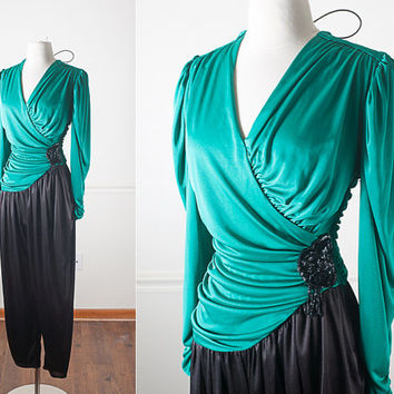 1970s Disco Cocktail Jumpsuit / Vintage 80s Jumpsuit / Avant Garde Jumpsuit / 80s Jumper / Vintage Romper / Evening Dress Jumpsuit / Xmas