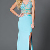 V-Neck Sleeveless Two Piece Prom Dress with Jewel and Sequin Embellishments