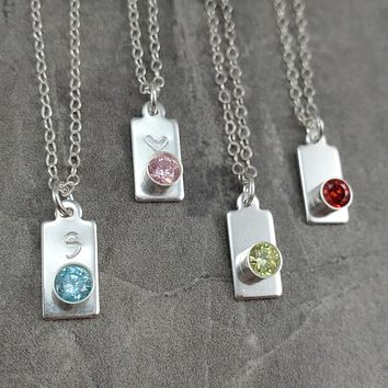 Birthstone Necklace, with heart or initial or blank.  Silver Monogram Birthstone Necklace