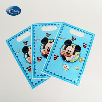 Disney Mickey Mouse Theme Printing Plastic Hand Length Handle Bag Loot/ lolly Bags Shopping Gift Bag Party Decoration Supplies