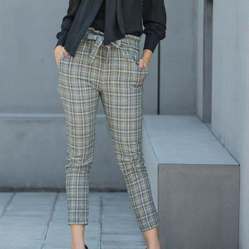 Yellow Plaid Pockets Drawstring Waist Casual Long Pants