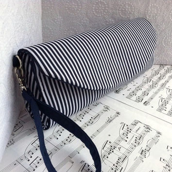 Nautical navy blue wristlet, blue and white striped nautical clutch with removable wrist strap