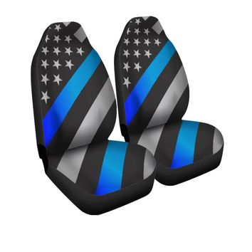 Thin Blue Line Police Print American Flag Universal Fit Car Seat Covers