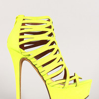 Neon Scallop Caged Open Toe Heel
