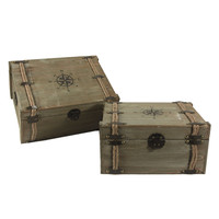 Vintage Nested Compass and Rope World Traveller Decorative Trunks - Set of 2