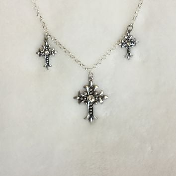 Antique Silver Cross Pendant Necklace with Crystal Gems