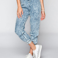 Spacegirlz Womens Chambray Jogger Pants Acid Wash  In Sizes