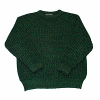 Vintage 80s Green Knit Wool Sweater Made in Gt. Britain Mens Size Large
