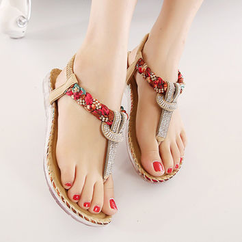 Female Bohemia Sexy Sandals Beach Summer Girls Flip Flops Casual Women Shoes Gladiator Fashion Cute Women Flats Sandals ABT538