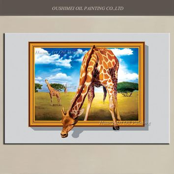 New 3D Giraffe Oil Painting Big Size Painted Hand Painted Animals Painting On Canvas Modern Prairie Landscape Wall Art