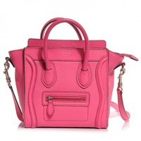 CELINE Drummed Leather Nano Luggage Fluo Pink