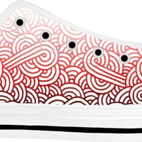 Gradient red and white swirls doodles White Low Tops