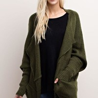 Olive Open Knit Cardigan
