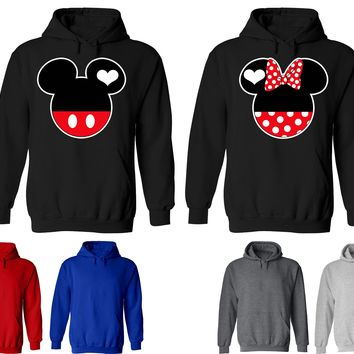 Mickey Minnie Couple Matching Love Set Solid Color Hoodie