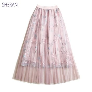 SHERAN 2018 Summer Maxi Skirts Female Elastic Embroidery Long High Waist Skirt Faldas Tulle Mesh Casual Elegant Womens Clothing