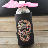 Sugar Skull - Skull- Skully-Day of the Dead- Slim Can - Water Bottle - 8 oz - Beer- 16 oz- Longneck- Party Cup- Can Cuddler- Free- KOOZIE ®