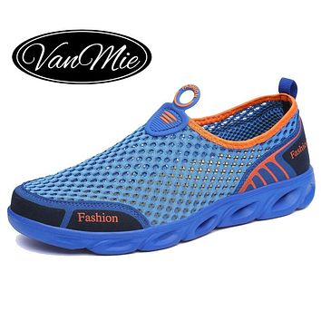 Vanmie Brand Men Casual Shoes 2019 Summer Men Shoes Slip On Men's Loafers Breathable Mesh Air Male Casual Walking Shoes